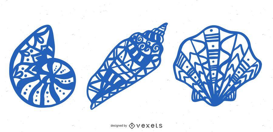 Mandala seashells vector set