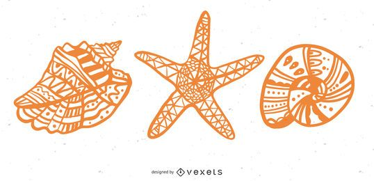 Conjunto de mandala de conchas y estrellas de mar