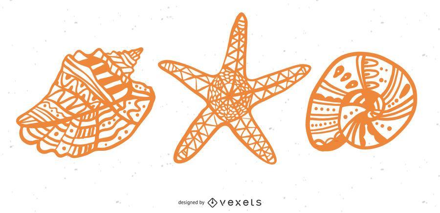 Seashell and starfish mandala set