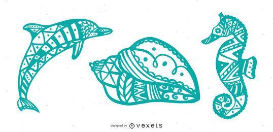 Conjunto de mandala de criaturas marinhas