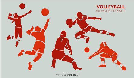 Conjunto de silhueta de jogadores de voleibol