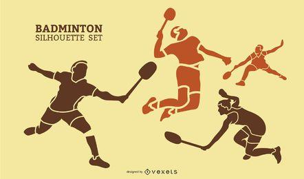 Conjunto de silhueta de jogadores de badminton