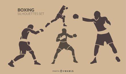 Conjunto de silueta de boxeo