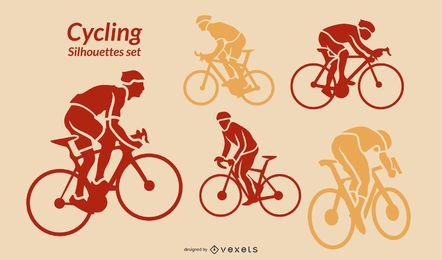 Conjunto de siluetas de ciclismo