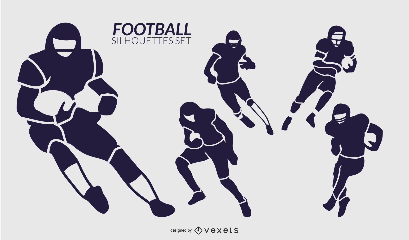 Football players silhouette set