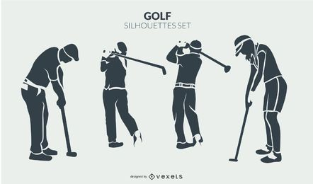 Conjunto de silhueta de jogadores de golfe