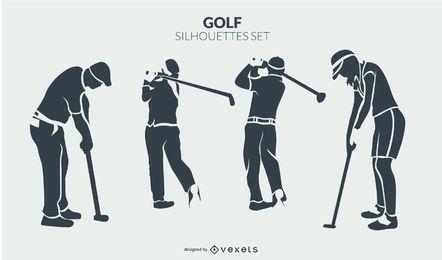 Conjunto de silueta de jugadores de golf