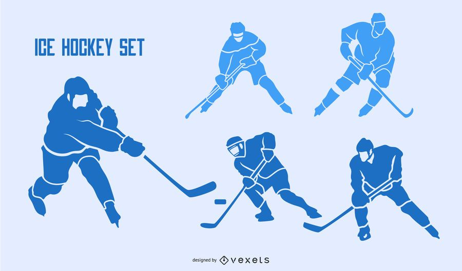 Ice hockey silhouette set