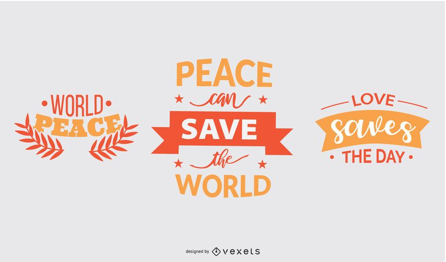 Peace saves lettering set