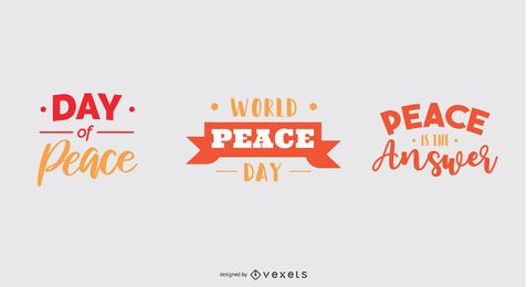 World peace day lettering set