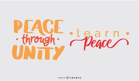 Peace day lettering set