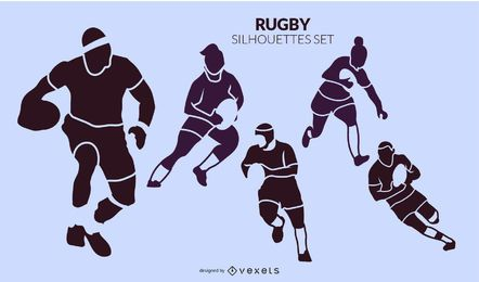 Conjunto de siluetas de rugby