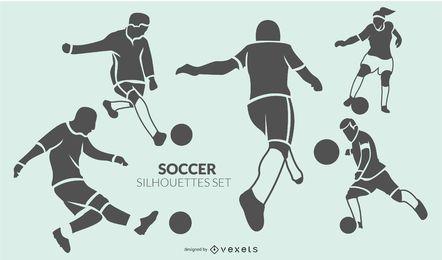 Conjunto de silueta de jugadores de fútbol