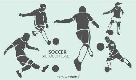 Soccer players silhouette set