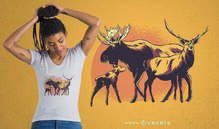 Diseño de camiseta de la familia de los alces