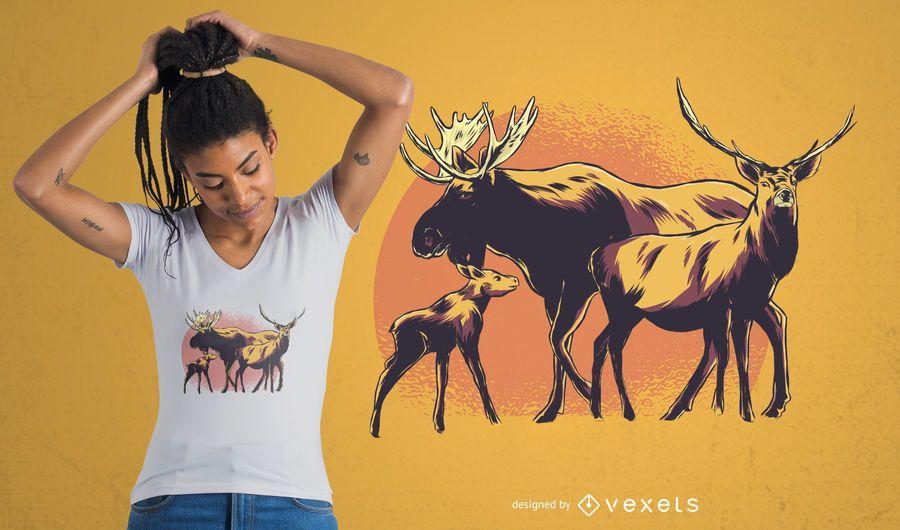 Elch-Familien-T-Shirt Entwurf