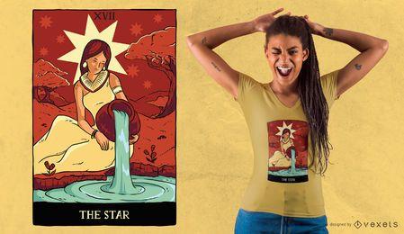Projeto do t-shirt do cartão de Tarot da estrela