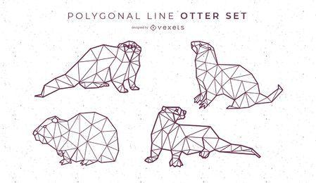 Línea poligonal diseño de nutria