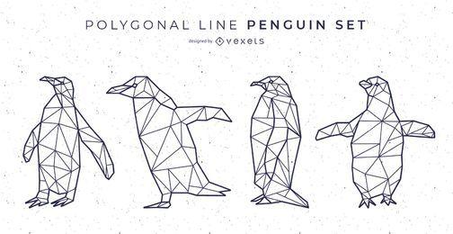 Conjunto de vector de pingüino de línea poligonal