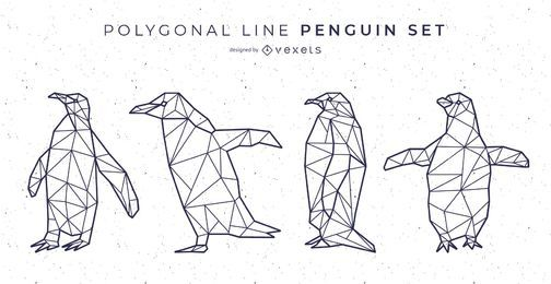 Polygonale Linie Pinguin Vektor Set