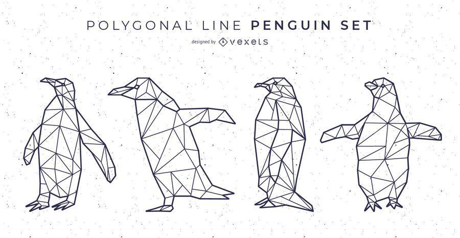 Polygonal Line Penguin Vector Set