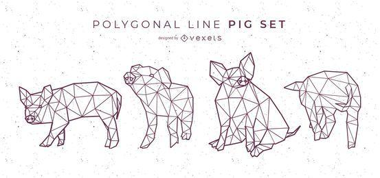 Conjunto de cerdo de línea poligonal
