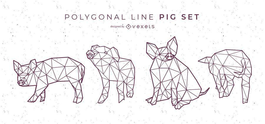 Polygonale Linie Schweinesatz