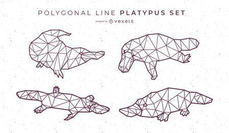 Polygonale Linie Schnabeltier Design