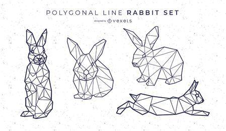Conjunto Conejo Línea Poligonal