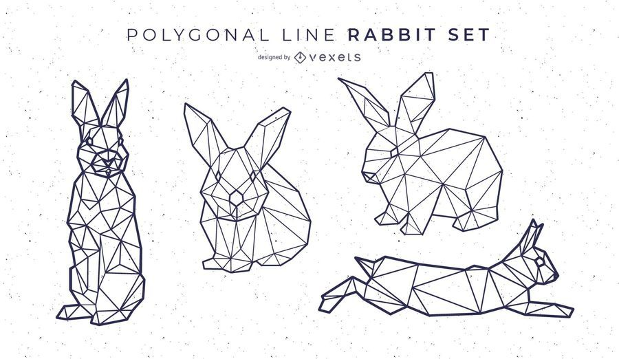 Polygonal Line Rabbit Set