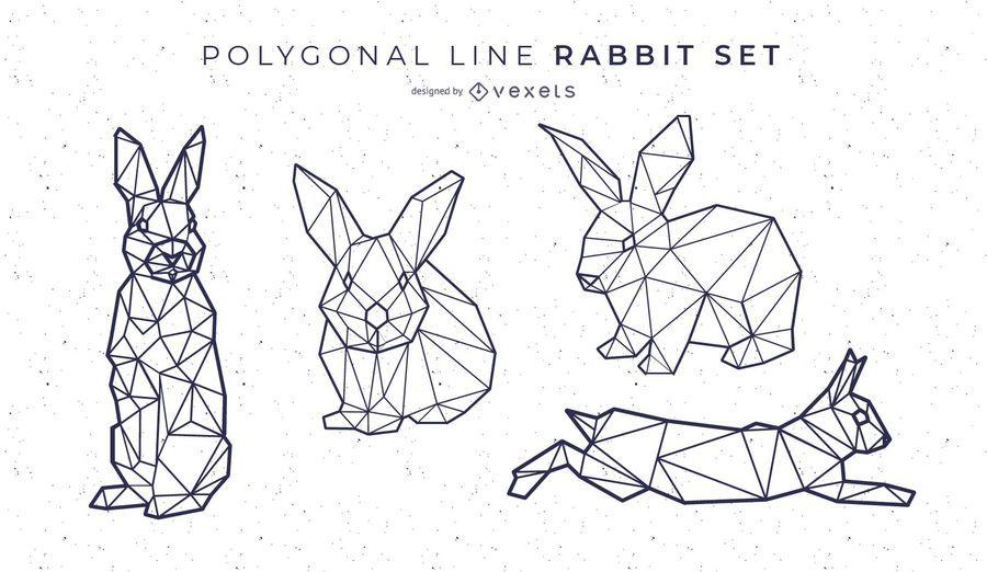 Polygonale Linie Kaninchen Set
