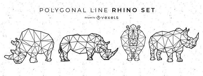 Conjunto de rinoceronte de linha poligonal
