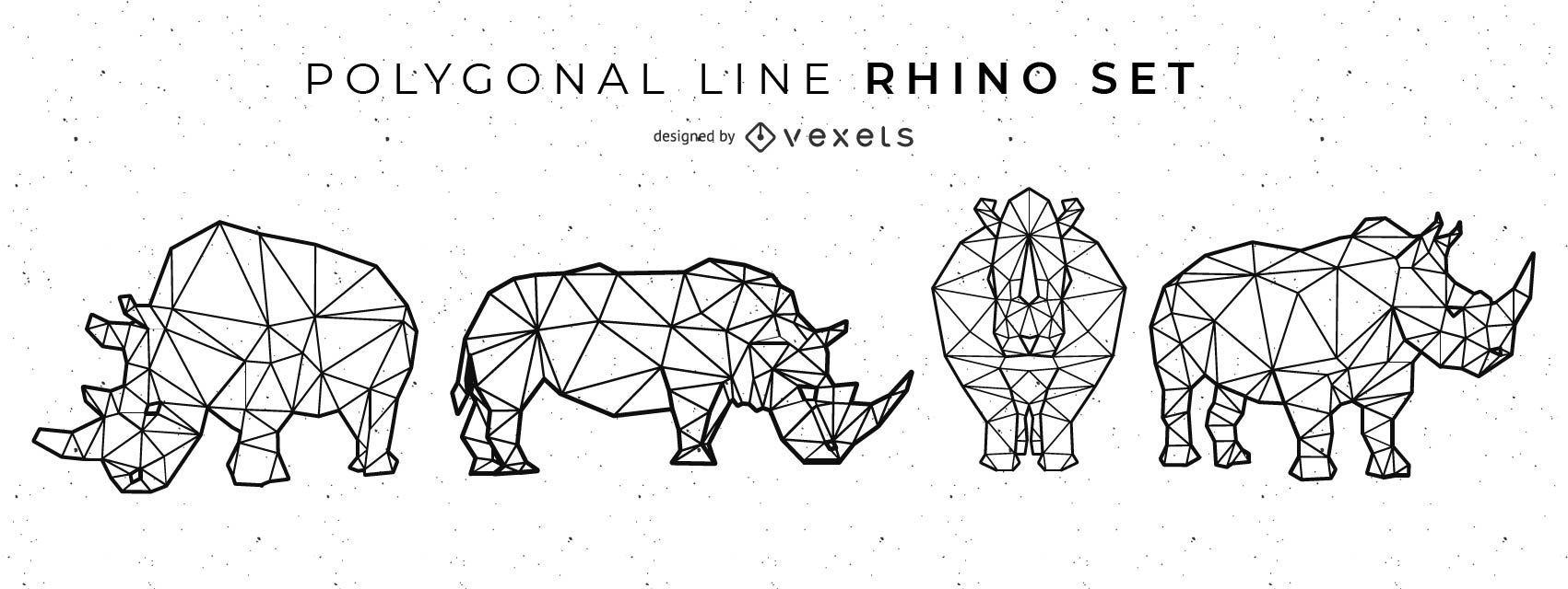 Conjunto de rinoceronte de l?nea poligonal