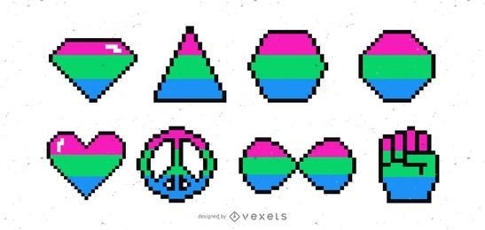 Conjunto de pixels de bandeiras e formas polissexuais