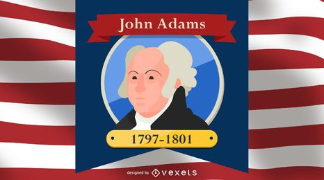 President John Adams Cartoon Illustration