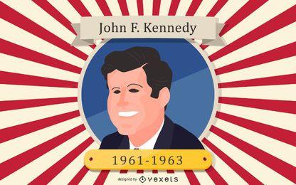 Retrato de dibujos animados del presidente John F. Kennedy