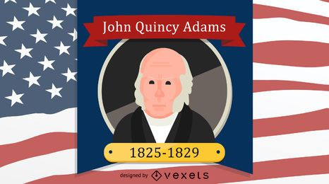 Retrato de dibujos animados de John Quincy Adams