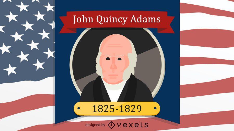 Retrato de dibujos animados de John Quincy Adams