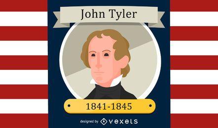 Retrato de dibujos animados de John Tyler