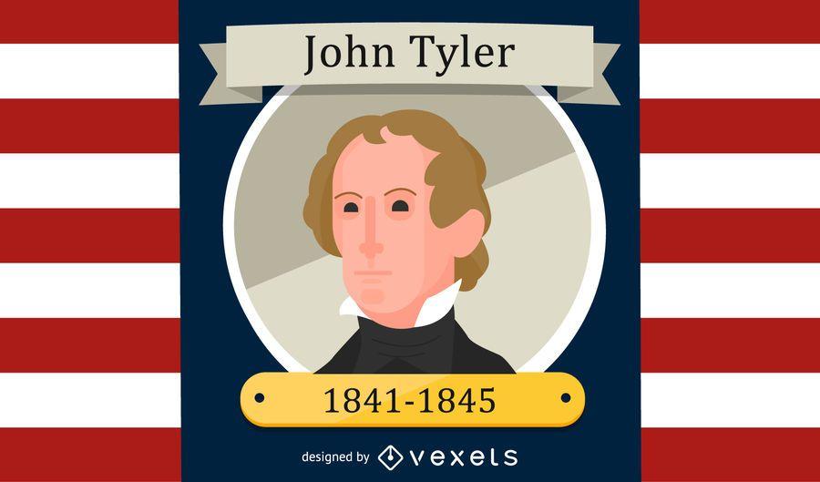 Retrato de desenhos animados de John Tyler