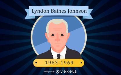 Lyndon Baines Johnson Retrato de desenho animado