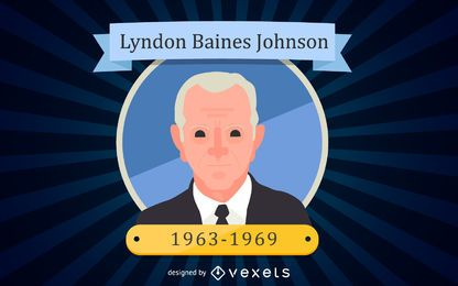 Retrato de dibujos animados de Lyndon Baines Johnson