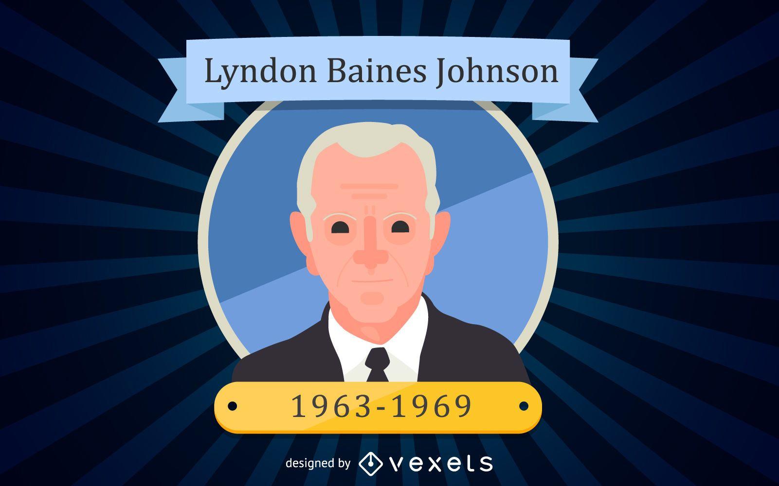 Retrato de dibujos animados de Lyndon Baines Johnson
