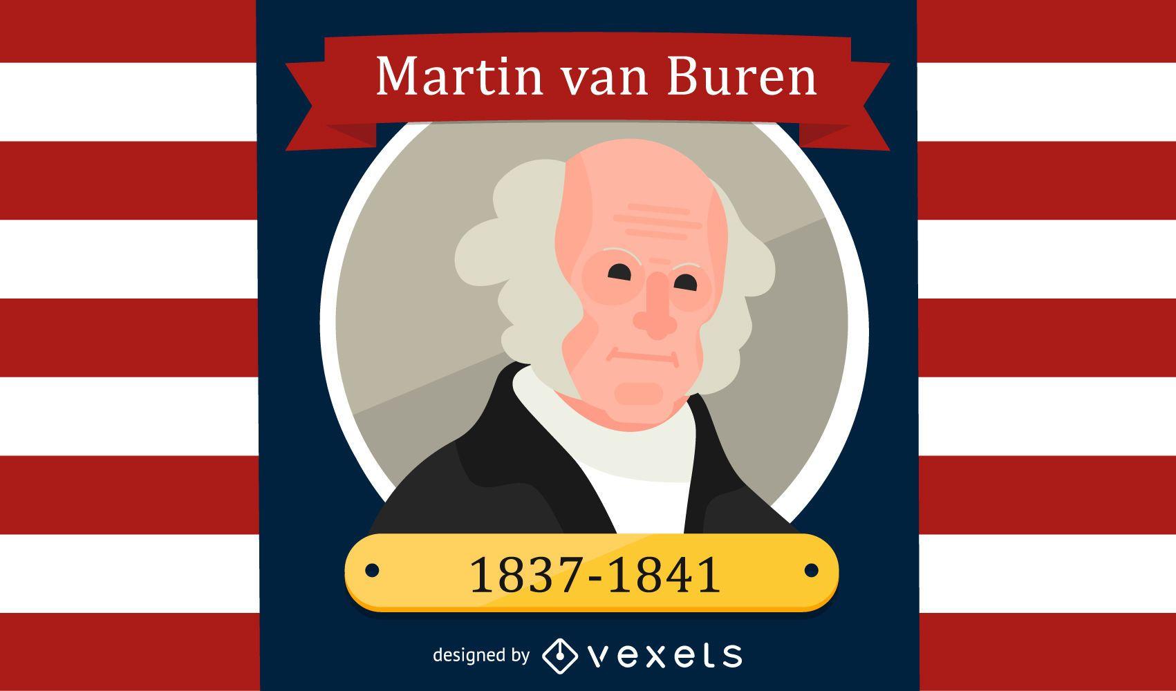 Martin Van Buren Cartoon Illustration