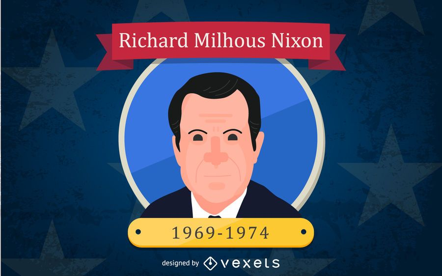 Richard Milhous Nixon Cartoon Illustration