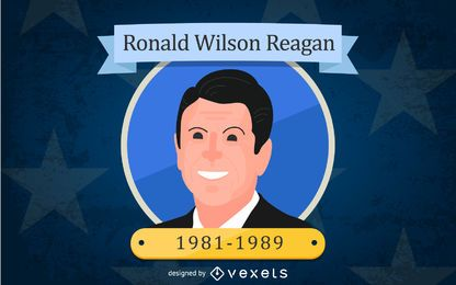 Ronald Wilson Reagan Cartoon Illustration