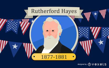 Rutherford Hayes Cartoon Illustration