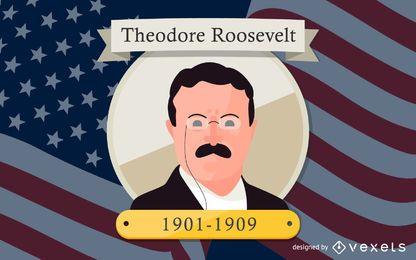 Theodore Roosevelt Cartoon ilustração