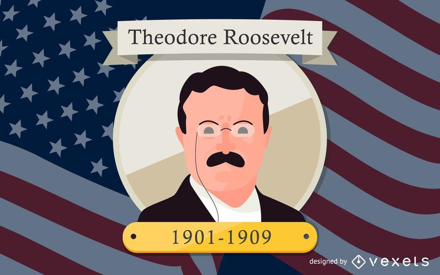 Ilustración de dibujos animados de Theodore Roosevelt