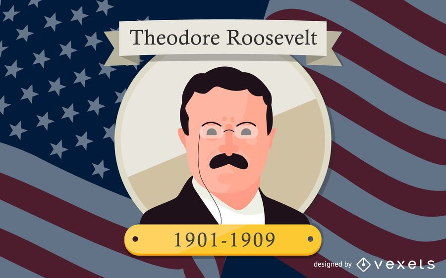 Theodore Roosevelt Cartoon Illustration